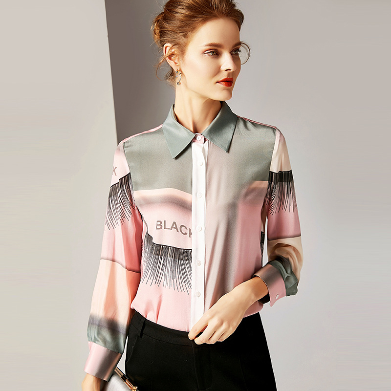 R10117 New Fashion Tops Spring 2019 Women's Clothing Lapel Long sleeved Vintage Printed 100% Silk Blouse Women' Shirts