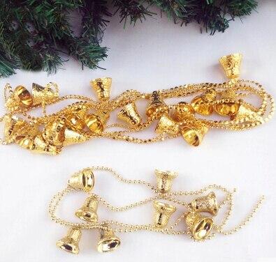 Řetězec ozdobných vánočních zvonků o délce 1,3 m PVC JingLing zvonky na vánoční stromek a vitrína dekorace