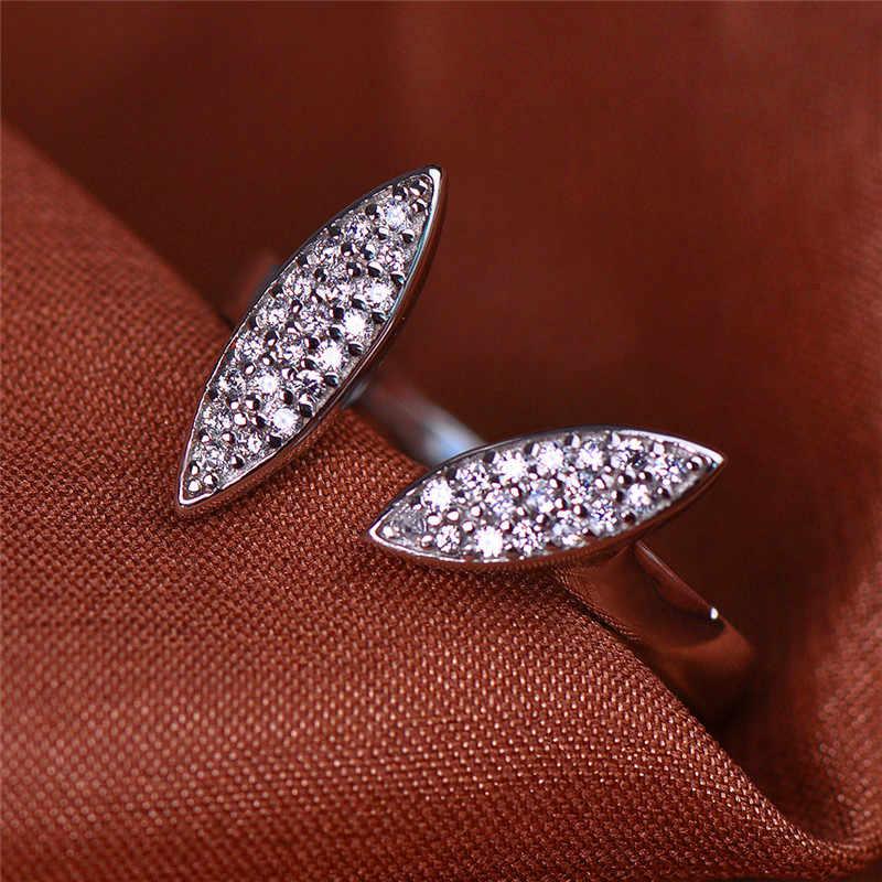 Anillo de hoja pequeña Simple femenina lindo 100% Real 925 Plata de Ley anillo ajustable promesa boda anillos de compromiso para mujeres