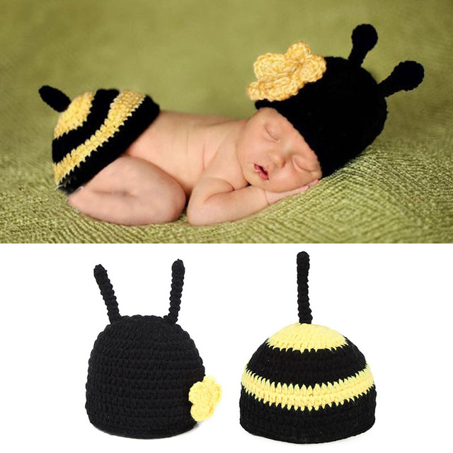 Baby Photography Outfits Cartoon Bee Costume Crochet Hat Pants Studio Photo Shoot Props For Infant Baby A101 Girl Boy Fotografia