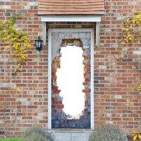 2 Sheet Pcs 3D Door Stickers Brick Wallpaper Wall Sticker Mural Poster PVC Waterproof Decals Living