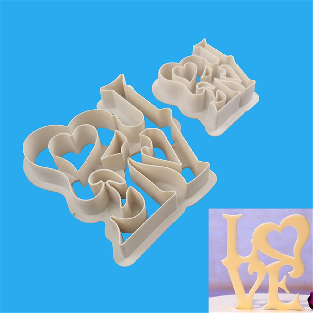TTLIFE 2PCS LOVE Letter Forms Plastic Cookie Cutter Biscuit Mold Fondant Cake Bakeware Decorating Tools Pastry Sugarcraft Moulds