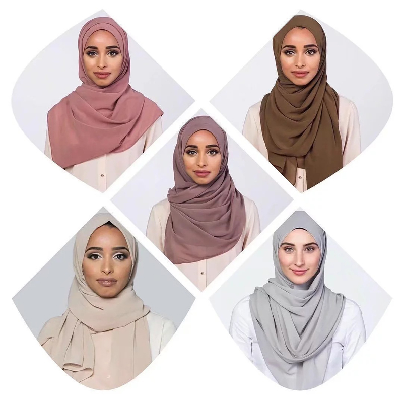 10pcs/lot Women Solid Plain Bubble Chiffon Hijab   Scarf     Wraps   Soft Long Islam Foulard Shawls Muslim Georgette   Scarves   Hijabs