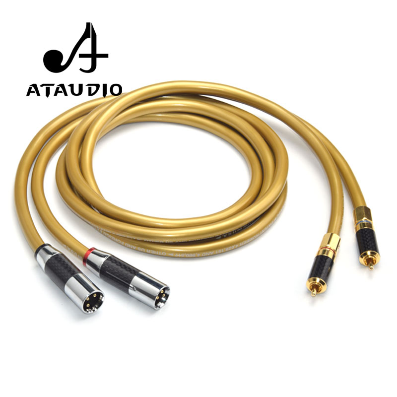 ATAUDIO Cardas 5C Copper Hifi 2RCA to 2XLR Cable Hi end Rca Male to Xlr Male Audio Cable For Sound Equipment