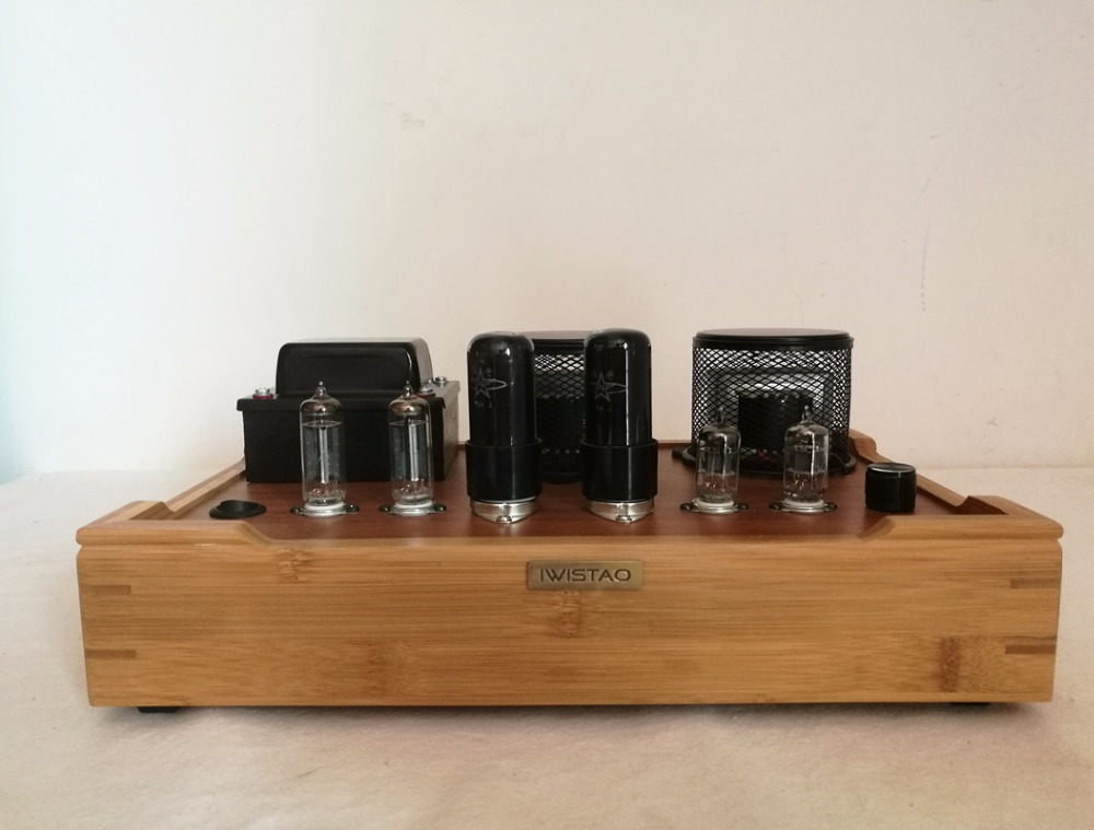 IWISTAO Single ended Tube Amplifier Class A 2X4.8W 6J1 Drive 6P6P Retro style Bamboo wood Casing Scaffolding Soldering
