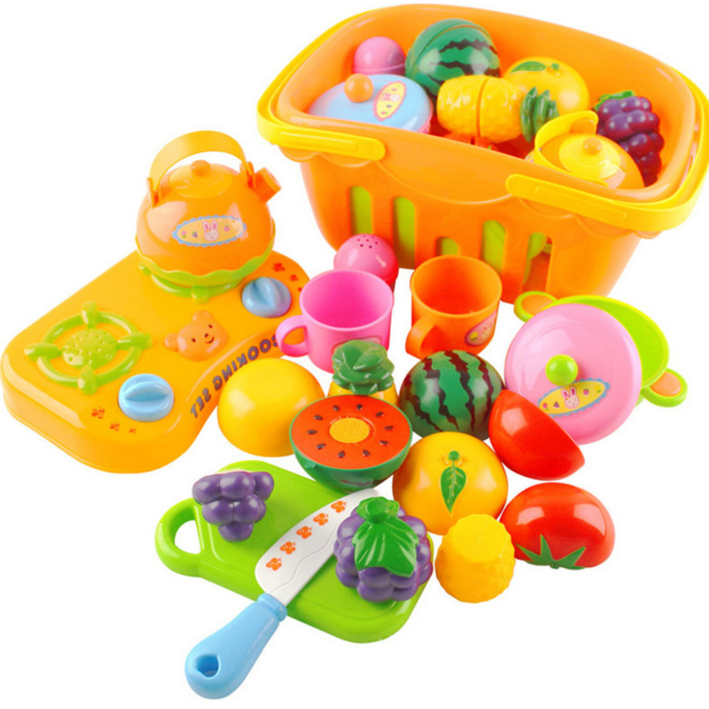 13PCS Kids DIY Kitchen Fruit Vegetable Food Cutting Toy Kitchen Shopping Baskets Cooking Stove Cookware Tool Pretend Play Toy image