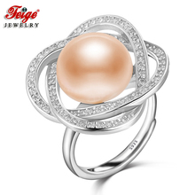 Elegant Luxury 925 Sterling Silver Big Pearl Ring for Lady Anniversary Jewelry Gifts 12-13MM Pink Freshwater FEIGE