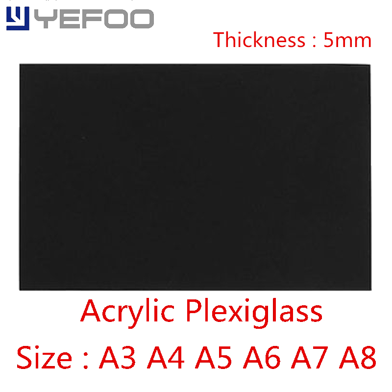 5mm Black Plastic Acrylic For Plexiglass Perspex Sheet PMMA Plast A3 A4 A5 A6 A7 A8 1mm 2mm 3mm 4mm 5mm 6mm 7mm 8mm 148mm*210mm 210 297mm customized table display card pmma acrylic material environmental t shape label frame for meeting business 170309 a7