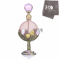 H D 7ML Vintage Tulip Flower Pattern Restoring Ancient Antique Perfume Bottle Empty Refillable Wedding Decor