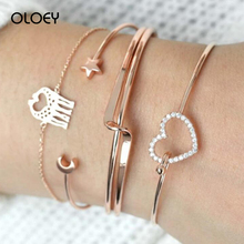 OLOEY Simple Boho 4pcs/set Bracelets For Women New Fashion Hollow Creative Alloy Hand Chain Female Ladies Open Bracelet Jewelry