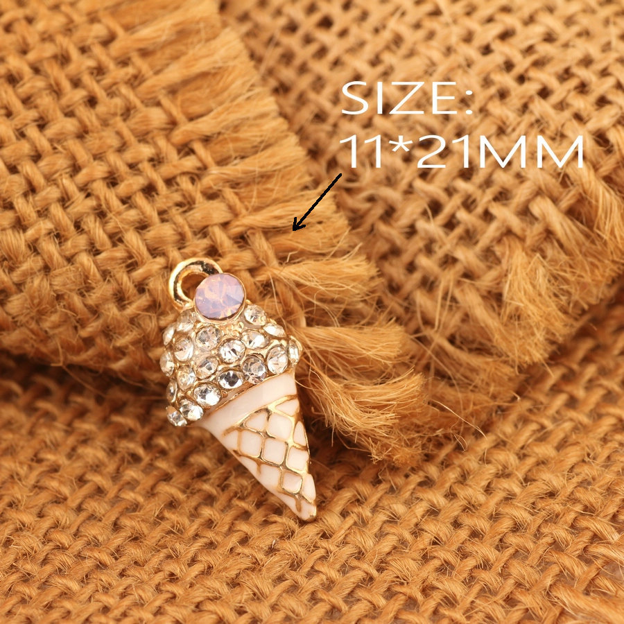 Wholesale 11*21MM Crystal Rhinestone Alloy Ice Cream Pendant Charms Gold Tone Kawaii Foo ...