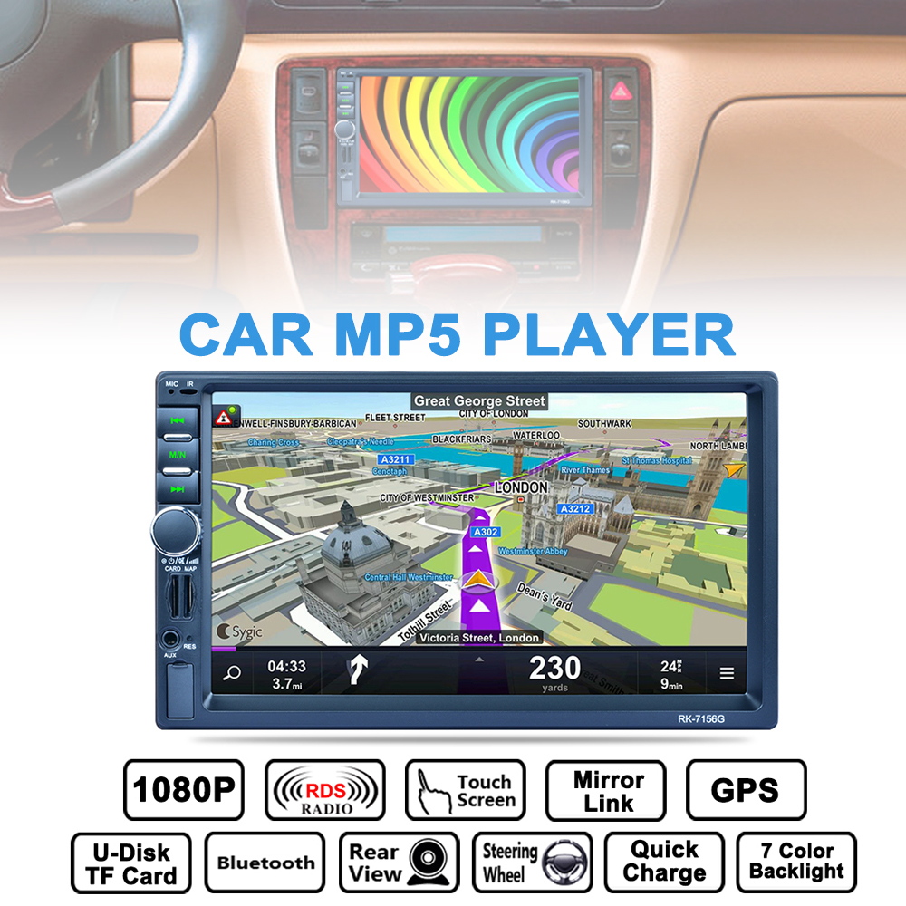 купить 7 Inch 2 DIN Bluetooth Car Multimedia Auto Stereo MP5 Player GPS Navigation AM FM RDS Radio Support Mirror Link Aux In Camera по цене 5653.77 рублей