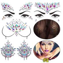 Temporary Rhinestone Glitter Tattoo Stickers Acrylic Chest Decoration Crystal Festival Party Makeup Body Jewels Flash Ornaments