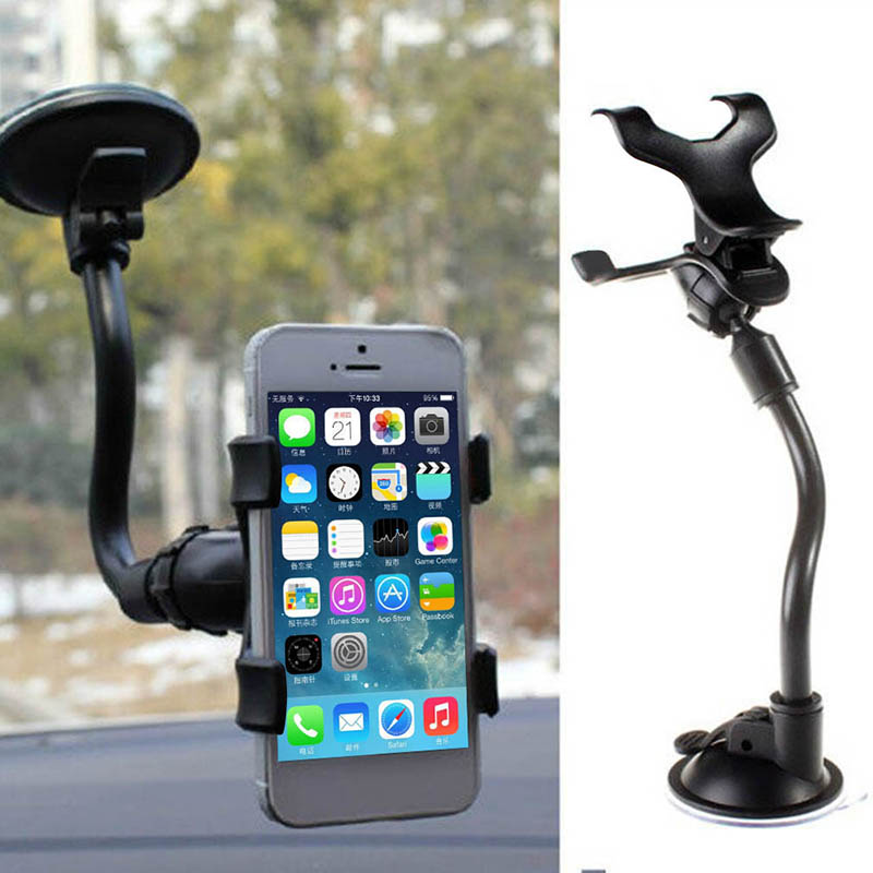 Phone-Holder Car-Mount Cellphone Rearview-Mirror-Bracket Black for 360-Rotation Universal title=