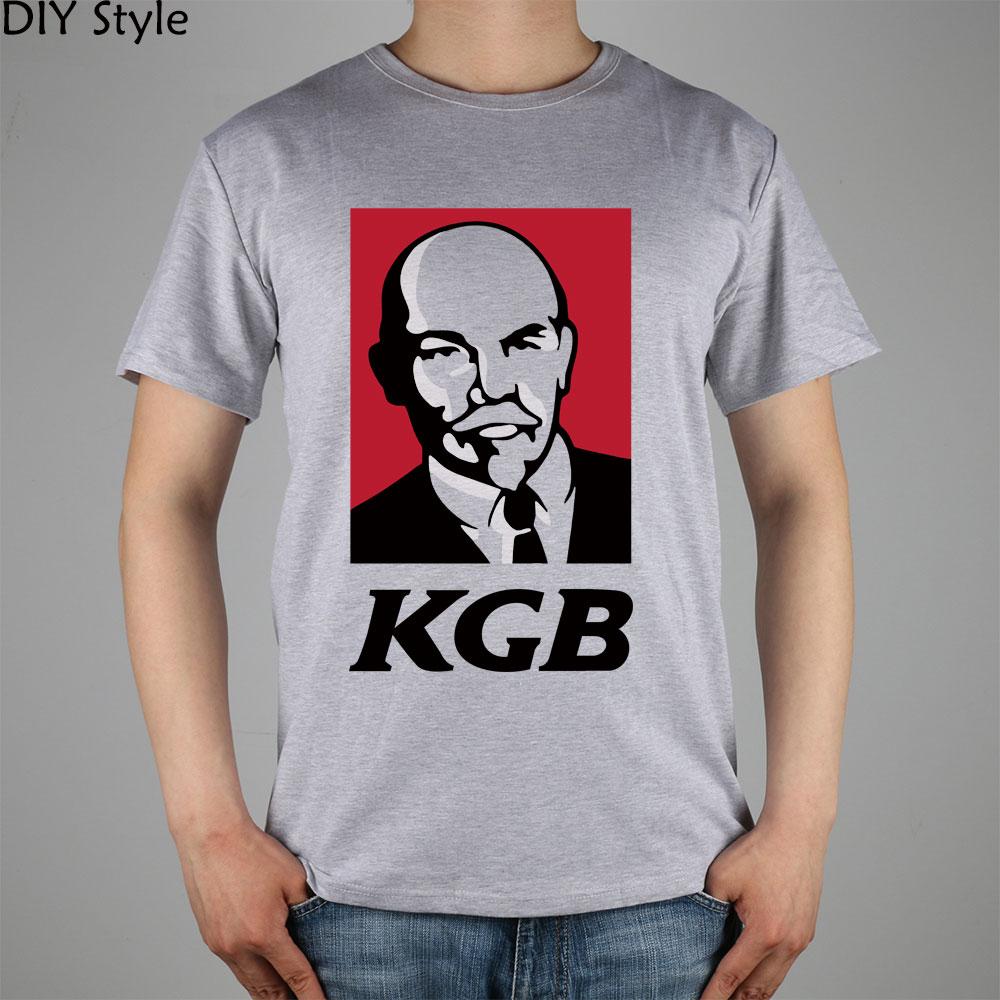KK CCCP KFC LENIN KGB FUNNY short sleeve   T  -  shirt   Top Lycra Cotton Men   T     shirt   New DIY Style