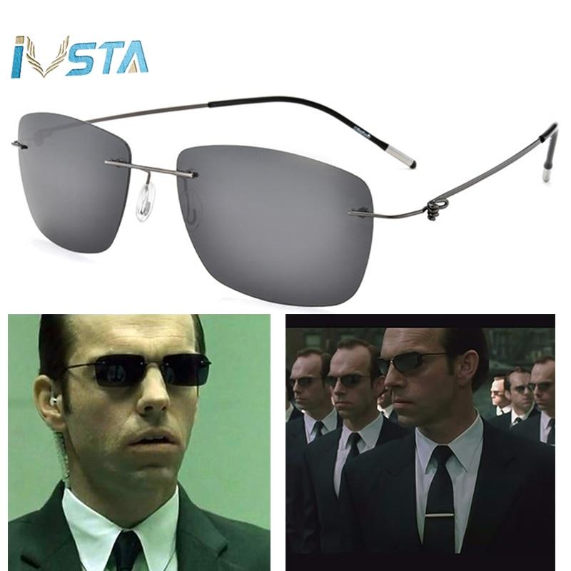 IVSTA New 2017 The Matrix Style Polarized Driving Men Sunglasses Titanium Memory Frame Rimless Light Sun Glasses Mirror Lenses