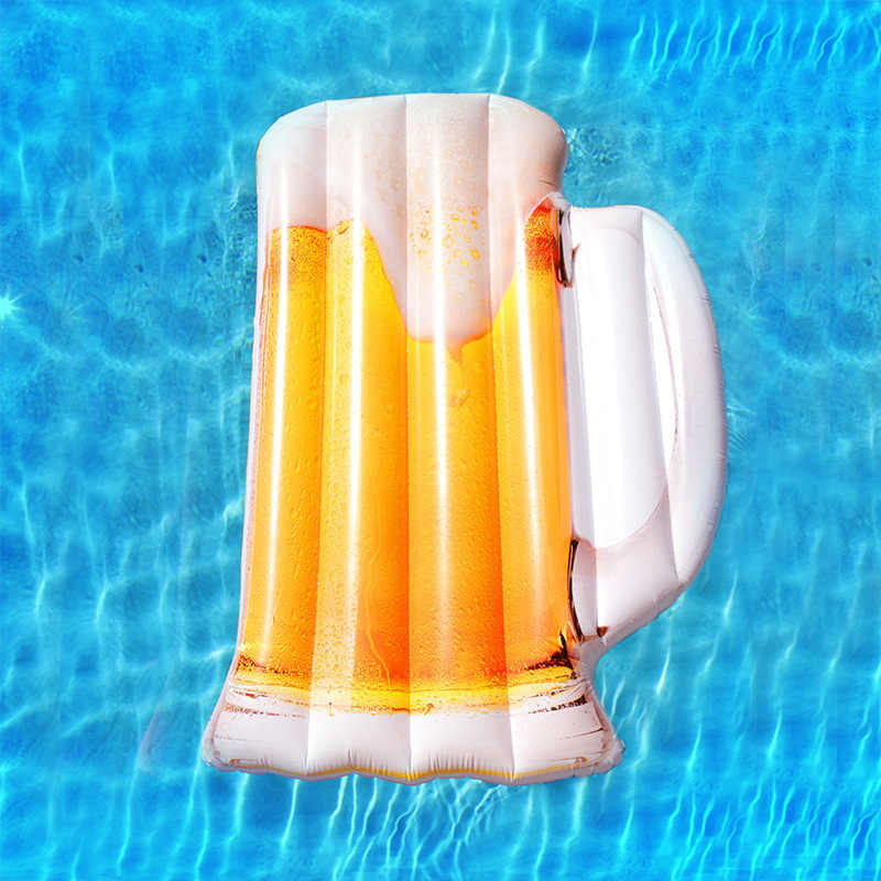 182CM Gaint Beer Mug Swimming Float Summer Ice Beer Swimming Ring Inflatable Pool Float Tube Raft Swimming Ring Summer Water Toy