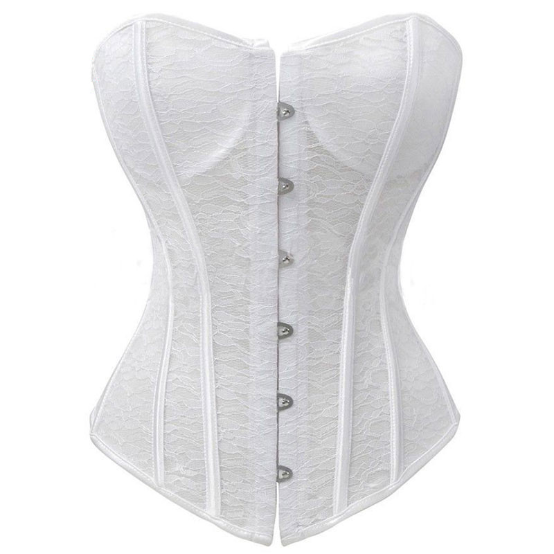 White Sexy Bridal Wedding Lingerie Corselet Open Floral Lace Bustier Corset Overbust Padded Cup Push Up Corsets and Bustiers