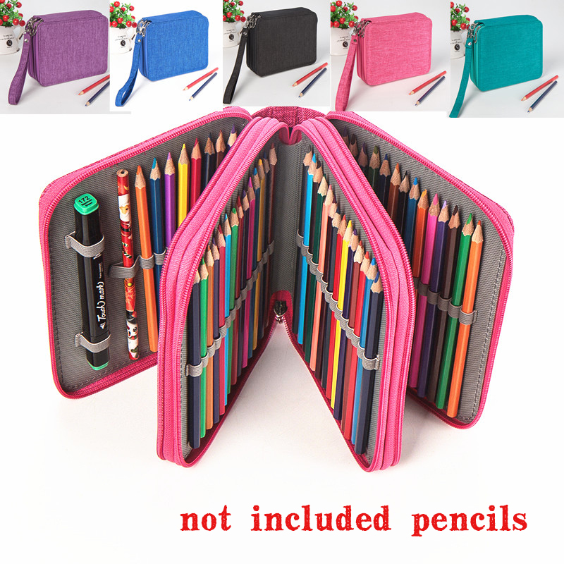 kemila 72 Holders Waterproof Handy School Pencils Case Large Capacity Colored Pencil Bag For Student Gift Art Supplies hot sale 72 holder 4 layers handy pu leather school pencils case large capacity colored pencil bag for student gift art supplies