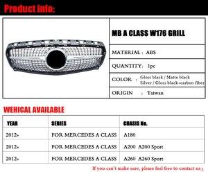 Image 2 - יהלומי מול סורג עבור מרצדס בנץ ברמה W176 מבריק שחור ללא סמל תג ABS החלפת 2013 15 a180 A250 A200 A300