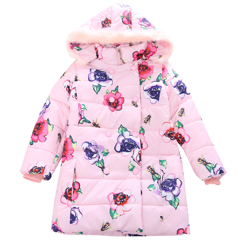 Girls Parkas Cotton-padded Coats Children Winter Jackets Kids Warm Outerwear Floral Girls Infant Hooded Clothes 4 6 8 9 12 Years winter russia girls cotton coats baby jacket thick warm kids outerwear parkas children clothing for 4 6 8 10 12 years