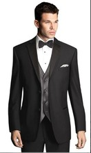 New Style Groom Tuxedo Black Groomsmen Notch Satin Lapel Wedding/Dinner Suits Best Man Bridegroom (Jacket+Pants+Tie+Vest) B238