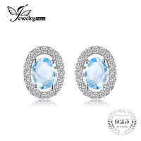 JewelryPalace Oval 1 1ct Natural Blue Topaz 925 Sterling Silver Stud Earrings Natural Gemstone Fine Jewelry