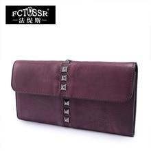 2017 Handmade Cowhide Envelope Bag Lock Rivets Large Capacity Vintage Day Clutch Genuine Leather Women Wallet