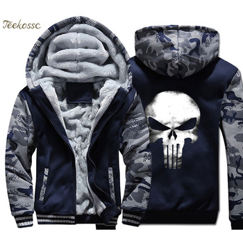 Skull Hoodie Men Cool Hooded Sweatshirt Coat 2018 Winter Warm Fleece Thick Zipper Jacket Hip Hop