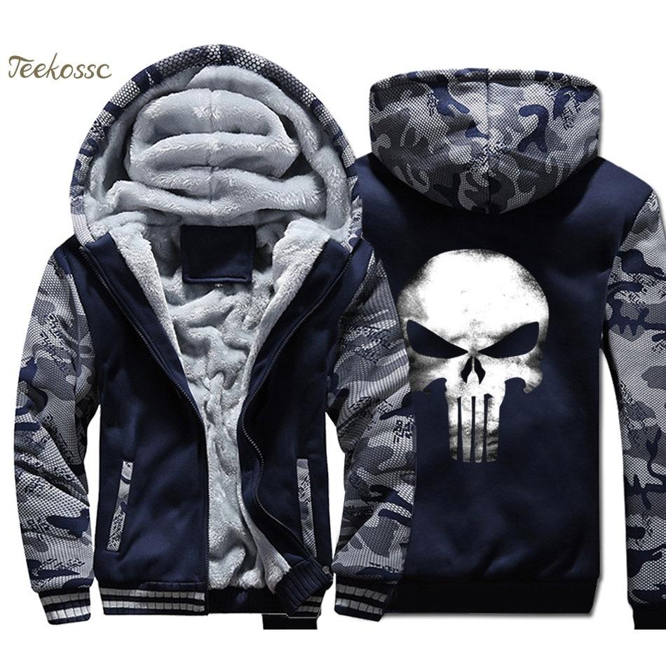 Skull Hoodie Men Hip Hop Hooded Sweatshirt Coat 2018 Winter Warm Fleece Thick High Quality Cool Camouflage Jacket