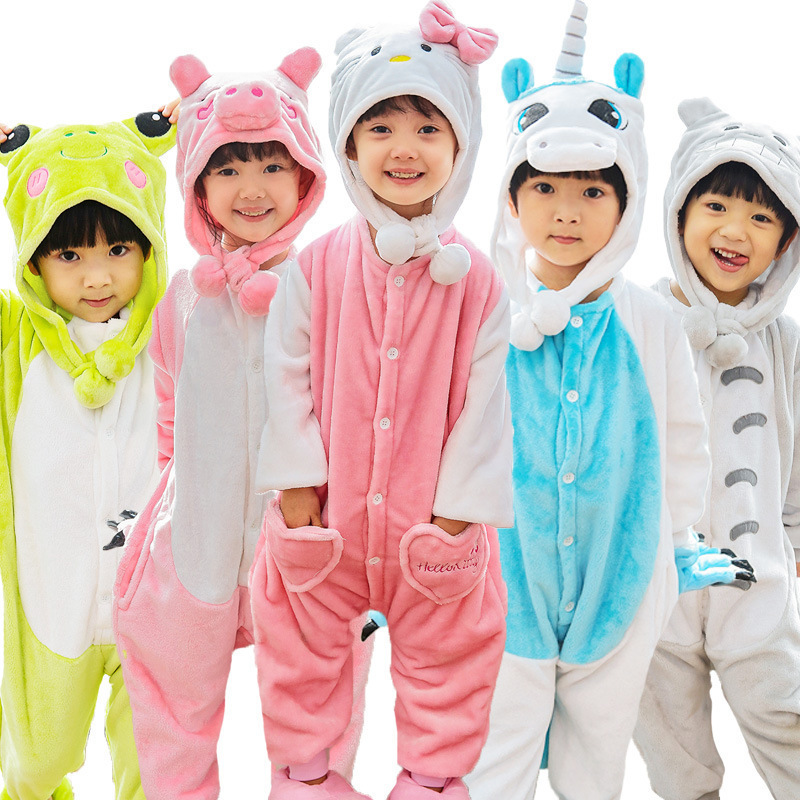 Children Totoro Cow Stitch Pajamas Kids Pokemon Pikachu Unicorn Onesies Costume Boy Girls Winter Cosplay Jumpsuits With Hat