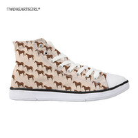 Twoheartsgirl Cool Crazy Horse High Top Canvas Shoes for Women Brown Casual Women's Vulcanized Shoes Lace Up Ankle Flats