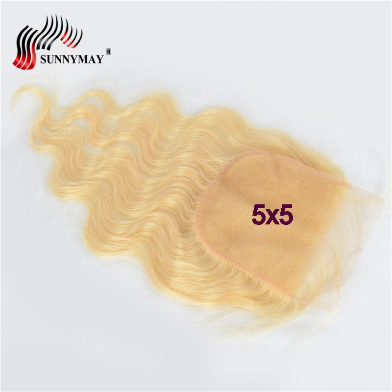 Sunnymay <font><b>5x5</b></font> Blonde <font><b>Lace</b></font> <font><b>Closure</b></font> Brazilian Remy Hair Body Wave <font><b>613</b></font> Color Top <font><b>Lace</b></font> <font><b>Closure</b></font> Bleached Knots Baby Hair image