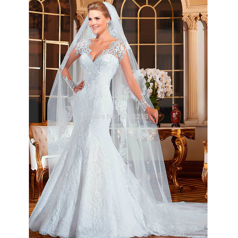 2015 New Elegant Full Long Sleeves Mermaid Wedding Dresses: Elegant Lace Wedding Dress New Arrival Long Sleeve Mermaid