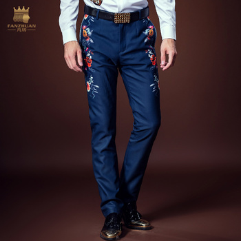 FANZHUAN Free Shipping New male Men's Court autumn blue thick velvet thickening personalized floral print pants trousers 618063