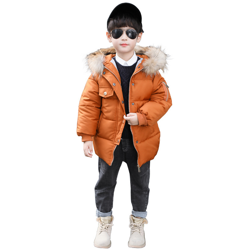 купить 2018 Baby Boys Winter Thick Warm Jacket Kids Fur Hooded Casual Coats Kids Outerwear Down Cotton-Padded Solid Winter Coats по цене 2188.84 рублей