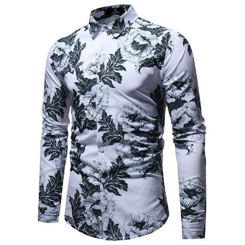 Mens Dress Shirts Spring Male Casual Camisa Masculina Insect Printed Slim Fit Hawaiian Shirts Long Sleeve Social Business Shirts Karachi