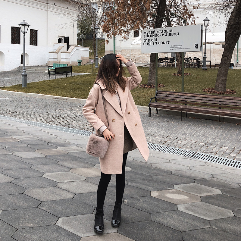 Mishow 2019 autumn and winter woolen coat female Mid Long New Korean temperament women's popular Outerwear woolen coat MX18D9662