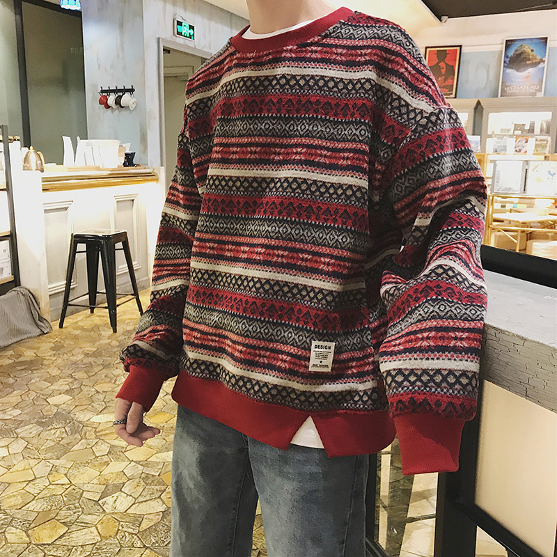 Winter New Hoodies Men Loose Long-sleeved Pullover Plus Velvet Fashion Youth Casual Round Neck Striped Sweatshirt Man Streetwear