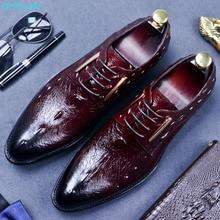 New Arrival Crocodile Pattern Shoes Men's Business Suits Genuine Leather Men's Dress Shoes Wedding Shoes Breathable цена в Москве и Питере