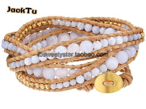 Женщины регулируемая белый перламутр золото лазерная бусины кожаный браслет обруча