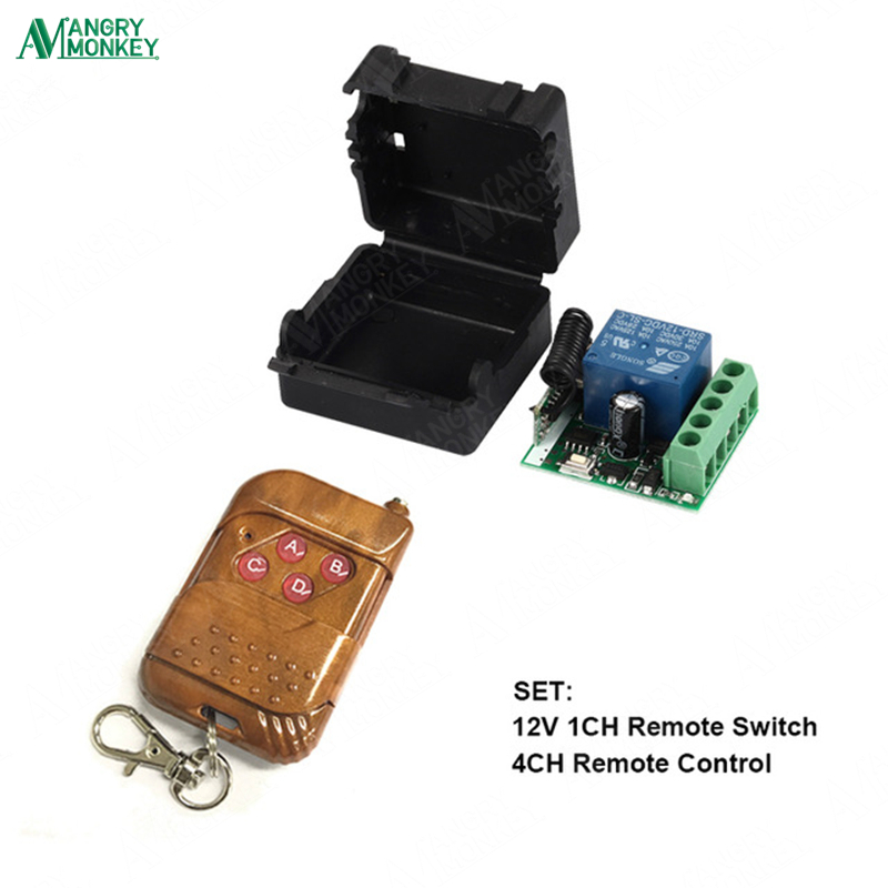 433Mhz Universal Wireless RF Remote Control Switch DC 12V 10A 1CH relay Receiver Module and 433.92 Mhz Remote Controls image