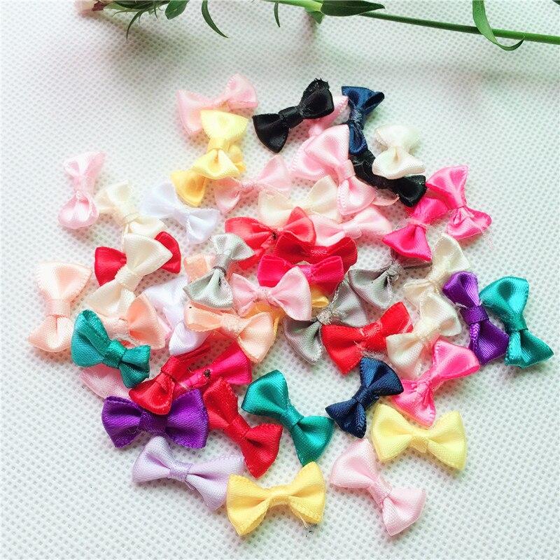 30PCS 21 12MM Mini Small Satin Ribbon Bows Flower Appliques sew Craft Kid s  cloth Lots 97aa120272b3