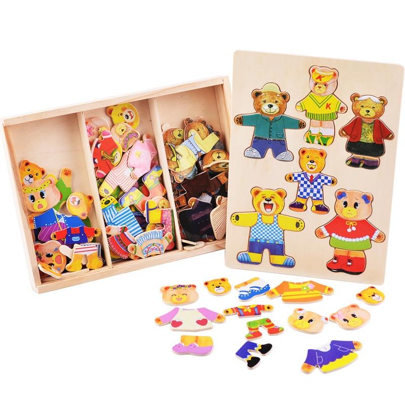 En bois Enfants Jouets Ours Famille 6 Personnes Robe Jigsaw Puzzle En Bois Apprentissage Jouets Éducatifs pour Enfants Filles