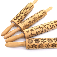 Wood Embossing Rolling Pin Laser Cut Curved For The Kitchen Baking Decoration And Cake Tools