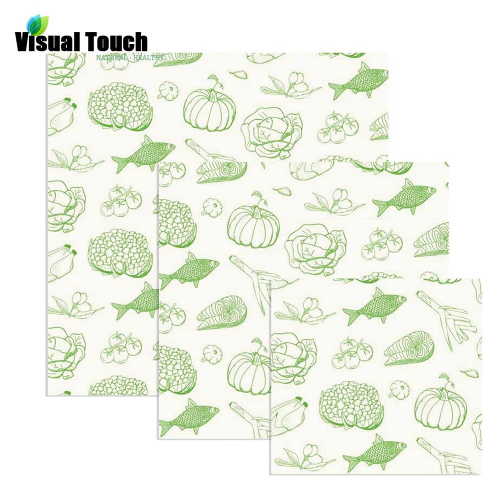 Visual Touch Reusable Washable Beeswax Cloth Wrap Bread Cover Stretch Sandwich wrap Cup Bees wax Wrap Fish Pumpkin Pattern image