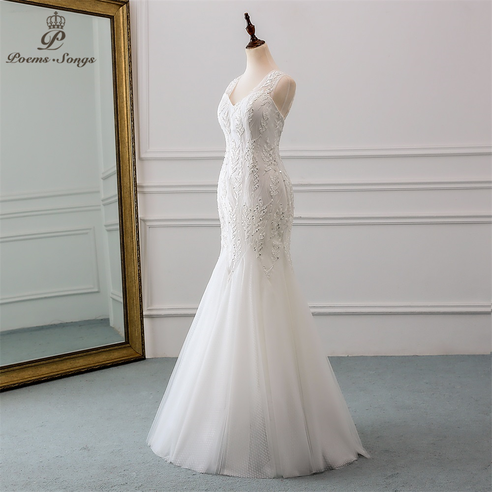 Image 2 - PoemsSongs 2019 new beautiful sequined lace wedding dress robe mariage  Vestido de noiva Mermaid wedding dresses robe de mariee-in Wedding Dresses from Weddings & Events