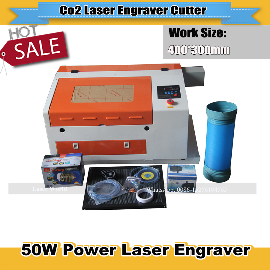 4030 Laser Cutting Engraving Machine  50W Tube Honeycomb  Table Up And Down Lift System Support Coreldraw Laser Position