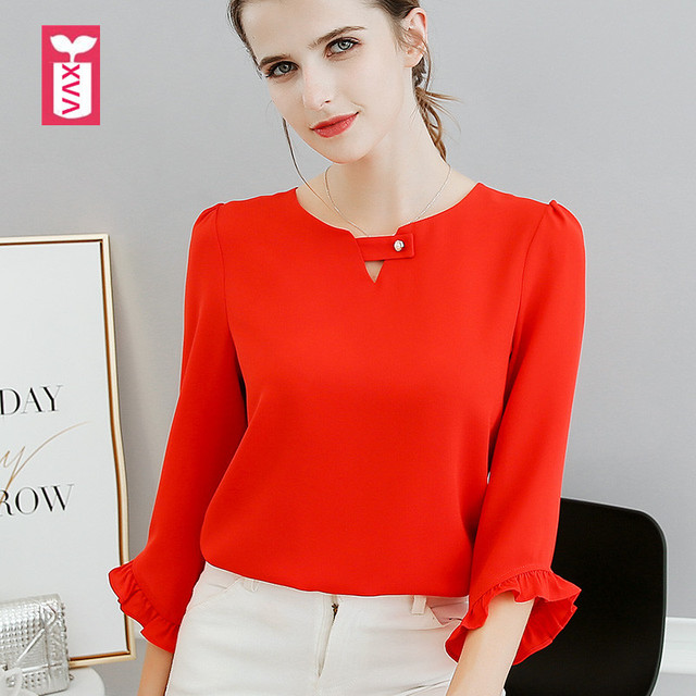 a909739617bdcd Drop Ship Sweet Lovely Office Lady Tie Bow Red Butterfly Sleeve Blouse  Womens Chiffon Shirts Girl
