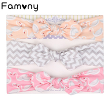 3Pcs/Set Rabbit Ears Cotton Headbands for Kids Soft Knotted Stretchy Elastic Printed Hair Bands Newborn Girls Accessories
